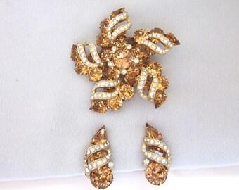 Eisenberg Rhinestone Brooch Earrings Set - Vintage Eisenberg Brooch Set - Topaz Rhinestone Brooch - Eisenberg Jewelry