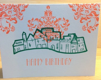 Happy Birthday Green Houses Letterpress Card