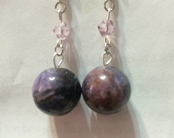 Amethyst Purple Stone and Crystal Dangle Earrings