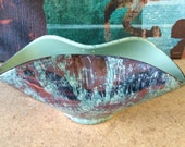 50 % SALE-Mid Century Turquoise Bronze Gold Fanned Vase
