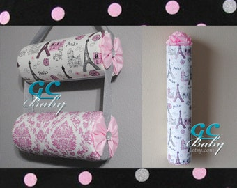 Sparkle Pink Hanging Headband Holders Bolster or Vertical - Paris, Damask, Polka Dot Fabrics with Glitter - Organizer and Decor