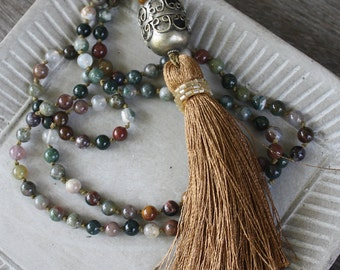 Long Tassel Necklace - Hand Knotted Necklace, Jasper necklace, long necklace, gypsy necklace, boho necklace, festival necklace, bohemian