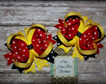 Pigtail hair bows Red Yellow and Black Hair bows Stacked Hair Bows Boutique hair bows Swiss Dot pigtail hair bows