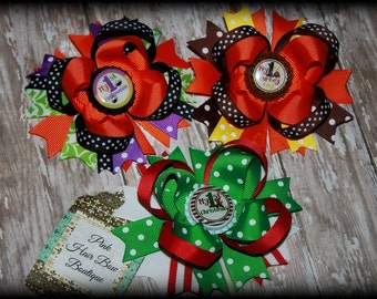 Set of 3 Babys First Halloween Hair Bow - Babys First Christmas Hair Bow - Baby's First Thanksgiving Hair Bow - HEADBANDS or HAIR BOWS