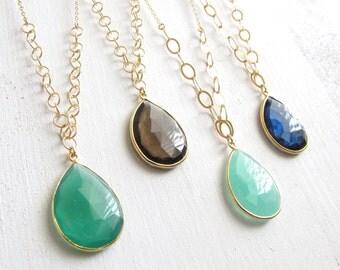 Teardrop Gemstone Pendant Necklace - Aqua Chacedony Necklace - Smokey Quartz Necklace