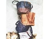 Waxed canvas bucket bag -- light brown, solid