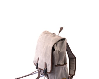 The Mini -- grey small waxed canvas backpack