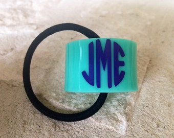 Ponytail Holder, Monogrammed Ponytail holder, Personalized Ponytail Cuff, Acrylic Ponytail Cuff, Acrylic Ponytail Holder