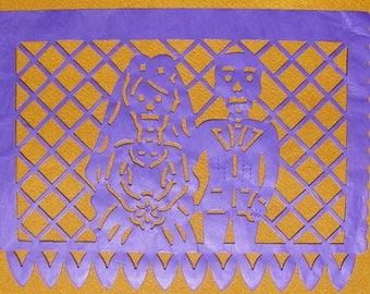 Papel picado Day of the dead paper banner dia de los muertos 10 flags Mexico halloween Mexican decoration purple groom bride wedding