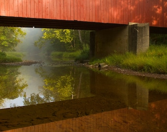 Frankenfield Covered Bridge in Morning Fog, Landscape Photograph, Bucks County, Pennsylvania, Reflection, Red, Color, Wall Art print
