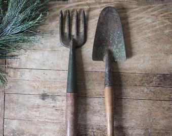 Vintage Garden Tools Shovel Fork Green Paint