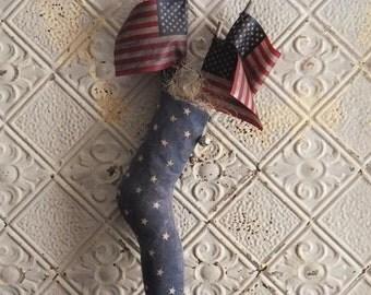 Primitive Americana Stocking Handmade Folk Art Stars