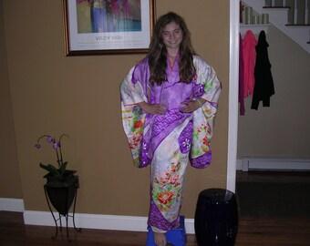 SALE  RIBBON FURISODE  Vintage Japanese silk Kimono garment  Faux Shibori Bokashi shading Floral  Measurements below