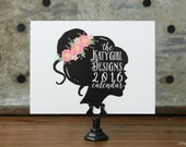 ON SALE - 2016 Katygirl Designs Whimsical, Hand Drawn Calendar with Black Bakery Clip Stand