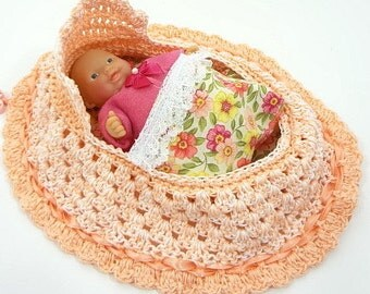 drawstring cradle purse childs toy crocheted church purse itty bitty baby bassinet BG127