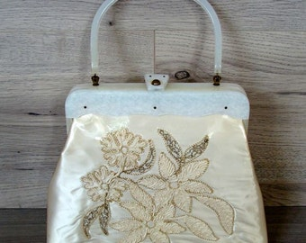 Vintage Purse 1960s White Satin with Clear Plastic Flowers and Lucite Handle by ER