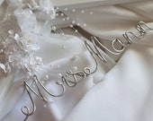 Engagement Gift Bride, Hanger With Flowers & Pearls, Personalized