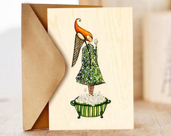 """Wood card """"Every day is a gift"""", Happy Birthday Card , Birthday Card for Friend,  Greeting Card  For Her"""