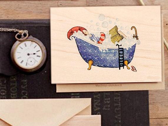 "Wood card  ""Every day is a gift"", Greeting card, Bubble Bath, Bath Time, Blue Bath, Reading, Bathing girl"