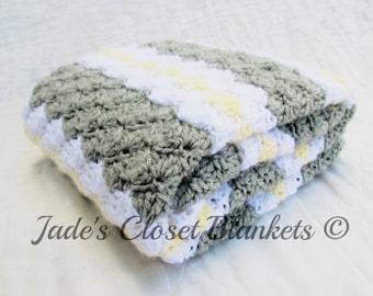 Crochet Baby Blanket, Baby Blanket, Crochet Grey Baby Blanket, Light Grey, White and Yellow, travel stroller pram size