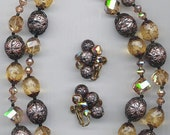 Beautiful 2-strand vintage Vendome necklace and earring set with gorgeous crystal, glass and lucite beads
