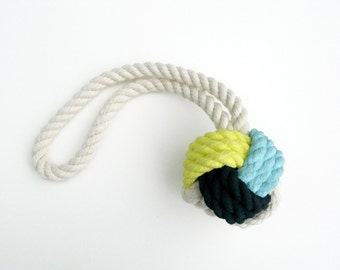 Yellow, Blue & Navy Hand-Painted Monkey's Fist Knot - Medium