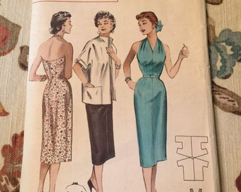 Butterick 1950s Ladies Halter Dress with Car Coat Pattern--Size 16--Bust 34