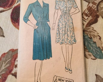 Vintage 1930s New York Pattern for Ladies Dress--Size 16--Bust 34