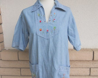 70s Embroidered Smock Top Chambray Hippie Shirt M-L
