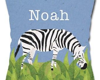 Personalized Zebra Safari Throw Pillow
