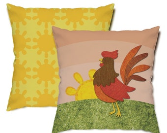 Early Bird Rooster Throw Pillow