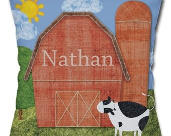 Personalized Barn Throw Pillow