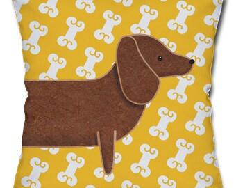 Dachshund and Dog Bones Throw Pillow