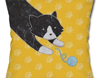 Playful Black Cat Throw Pillow