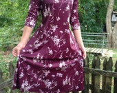 RESERVED Womans Adorable Floral Polyester 3/4 length Sleeve Dress Size 6 petite