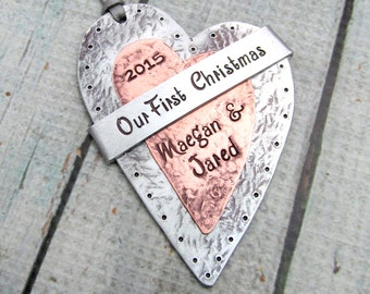 Our First Christmas Personalized Ornament - Hand Stamped Mixed Metal Heart Ornament with Cold Connections and Rivets - Wedding Keepsake