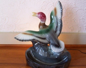 Mallard In Flight TV Top Vintage Duck Decor Lamp
