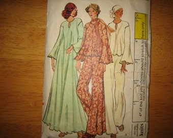 Vogue Patterns 9064 Misses' Gown Or Top And Pants   1970's