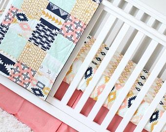 Desert Crib Bedding - Aztec Coral, Peach, Mint and Navy Crib Bedding - Tribal Baby Bedding