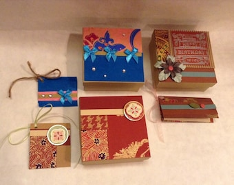 Set of 3 Hand Decorated Gift Boxes With Matching Tags. Unique. No 2 Alike. Happy Birthday. Love etc.