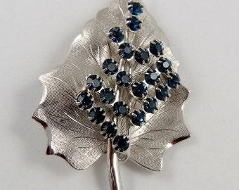 Vintage Blue Rhinestone Leaf Brooch Silver Tone