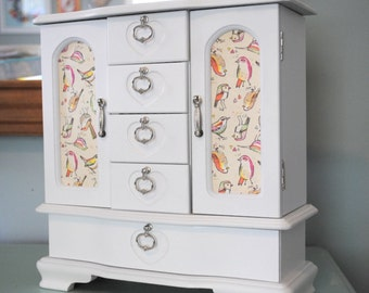 Refurbished Jewelry Box, Vintage, Adorable Bird Print, White Finish, Silver Hardware, Upcycled with Modern Updates
