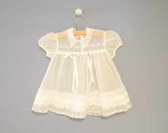 Vintage Baby Clothes, 1950's Ivory Chiffon and Lace Baby Girl Dress, Ivory Chiffon Baby Dress, Vintage Baby Dress,Size 3-6 Months