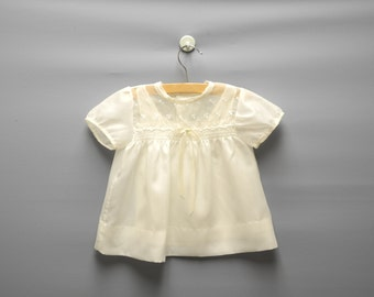 Vintage Baby Clothes, 1950's Cream Embroidered Baby Girl Dress Set, Cream Baby Dress, Vintage Baby Dress, Size 3-6 Months