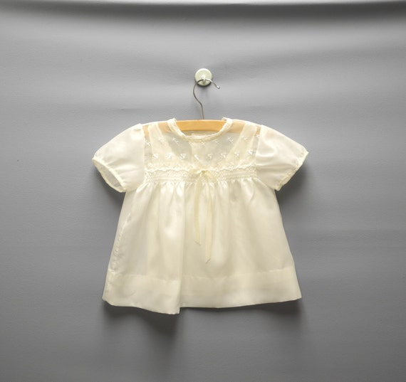Vintage Baby Clothes 1950 s Cream Embroidered Baby Girl