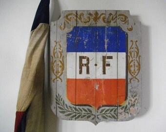 RARE Blazon 19th French Antique Shield holder flags - french flag - Antiques - Antique Blazon, french Antique Blazonry Antique Coat of Arm
