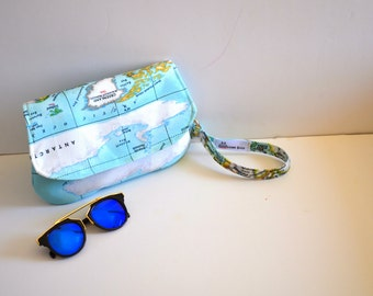 Map Clutch Purse with Wrist Strap  ,World map print,travel,purse,hand bag,clutch