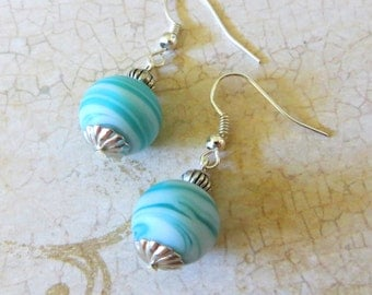 Holy Materia Final Fantasy Inspired Earrings - Blue White Turquoise Silver FFVII VII 7 Aerith Cloud Fade Pearl Materia Gaming Jewelry FF7 FF