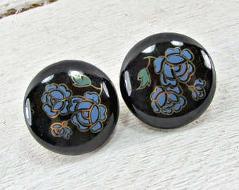 Vintage Blue Rose Earrings, Round Black Ceramic Earrings, Floral Flower Earrings, Clip-on Earrings, 1970s Romantic Cottage Chic Jewelry