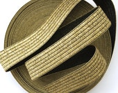 "2"" Shiny Gold on Black Stretch Elastic Band"